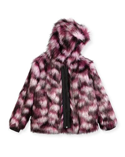 Hooded Faux-Fur Coat, Pink/Purple, Size 4-5