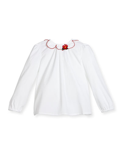 Long-Sleeve Poplin Ruffle-Trim Blouse, White/Red, Size 6-36 Months