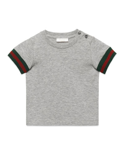 Short-Sleeve Slub Jersey Tee, Gray, Size 6-36 Months