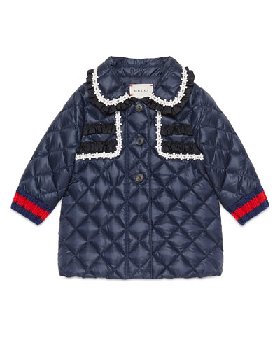 Quilted Collared Down Coat, Royal Blue, Size 12-36 Months