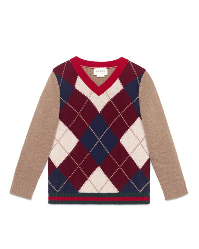 Wool Argyle V-Neck Pullover Sweater, Camel, Size 4-12