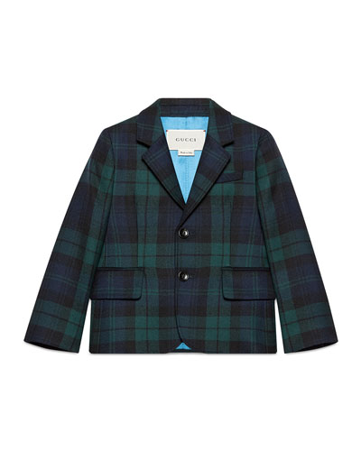 Plaid Wool Prep School Jacket, Abyss/Black, Size 4-12