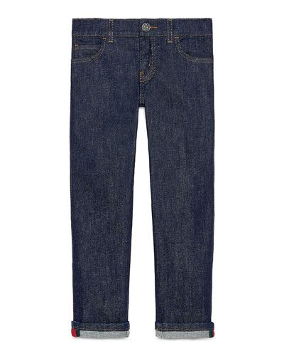 Washed Stretch Denim Jeans, Indigo, Size 4-12