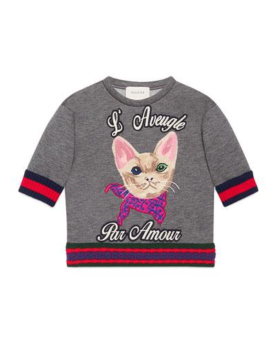 Short-Sleeve Cat Pullover Sweatshirt, Gray, Size 4-12