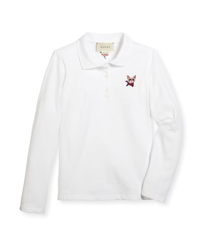 Long-Sleeve Cat-Embroidered Polo Shirt, White/Red, Size 4-12
