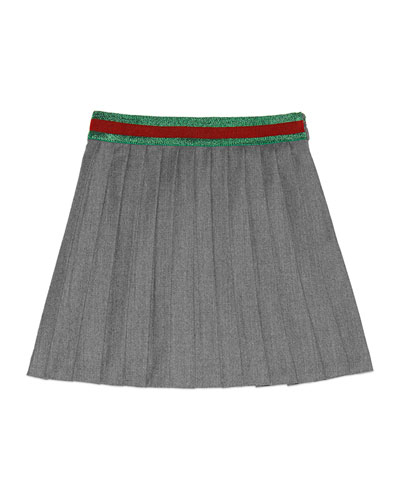 Pleated Wool-Blend A-Line Skirt, Gray, Size 4-12