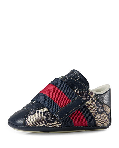 Icon GG Slip-On Sneaker, Beige/Blue, Infant