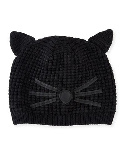 Girls' Knit Cat Beanie, Black