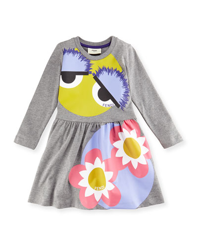 Long-Sleeve Melange Fit-and-Flare Monster Dress, Gray, Size 2-5