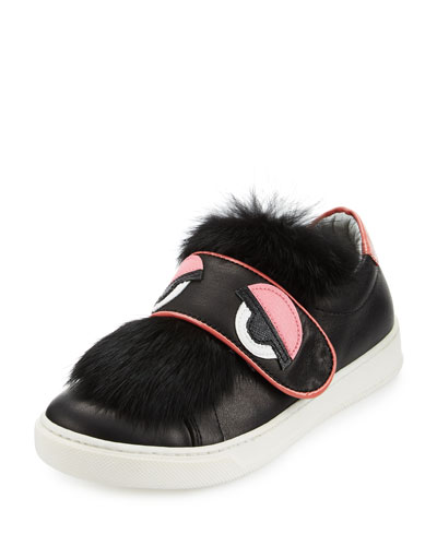 Leather Fur-Trim Monster Sneaker, Black, Junior