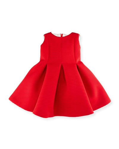 Sleeveless Pleated Shadow Stripe Scuba Dress, Red, Size 12-18 Months