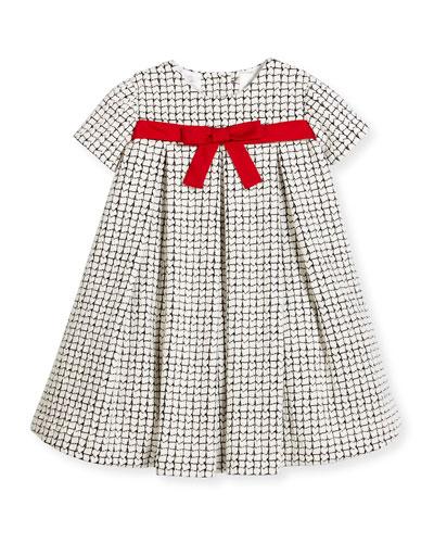 Cap-Sleeve Pleated Textured Dress, Black/Ivory, Size 2-6