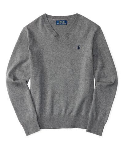Melange V-Neck Pullover Sweater, Size 2-7