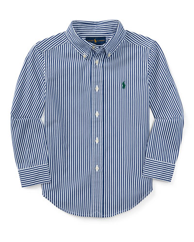 Striped Cotton Poplin Sport Shirt, Size 2-7