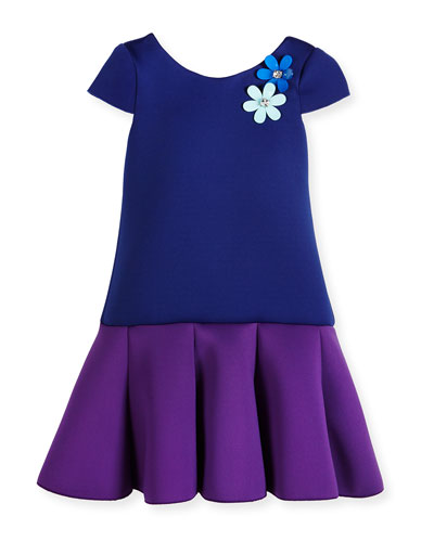 Cap-Sleeve Colorblock Scuba Dress, Royal/Purple, Size 2-6