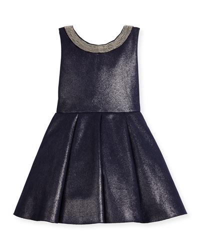 Sleeveless Pleated Metallic Ponte Dress, Twilight Navy, Size 2-6