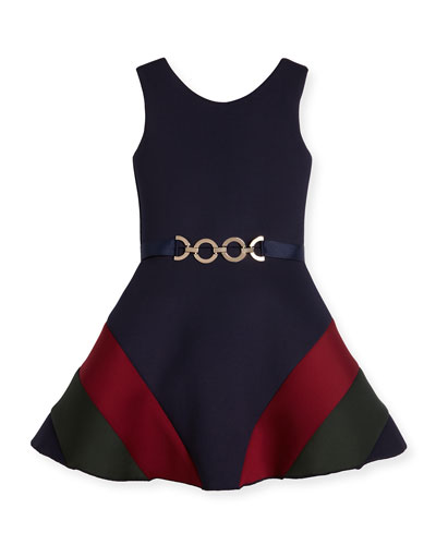 Sleeveless Belted Colorblock Ponte Dress, Navy, Size 7-16