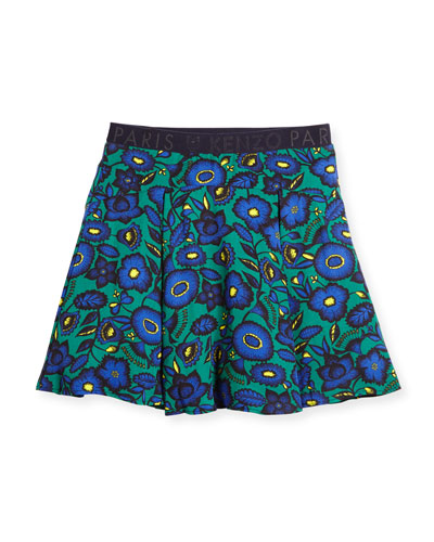 Pleated Floral Poplin Skirt, Green, Size 4-6