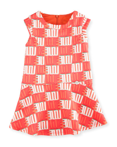 Sleeveless Printed Fit-and-Flare Dress, Apricot, Size 6M-3
