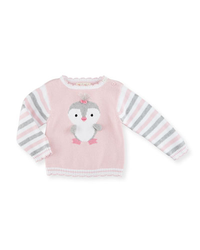 Striped Cotton Penguin Sweater, Pink, Size 2-6X