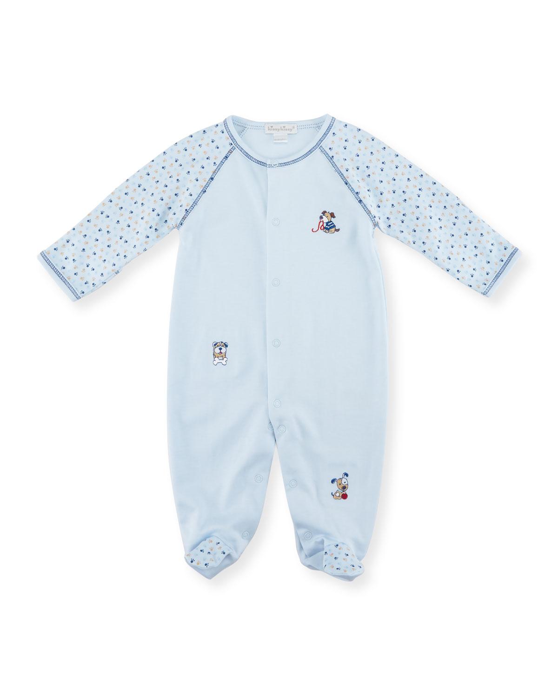 Sweater Weather Raglan Footie Pajamas, Light Blue, Size 0-9 Months