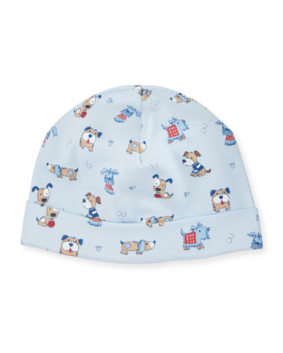 Sweater Weather Puppy-Print Hat, Light Blue