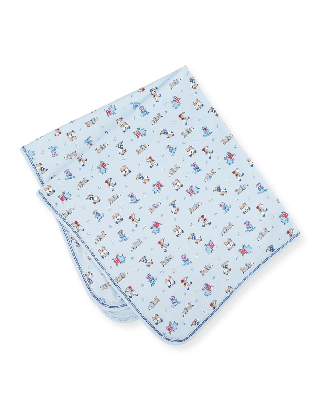 Sweater Weather Pima Puppy-Print Blanket, Blue