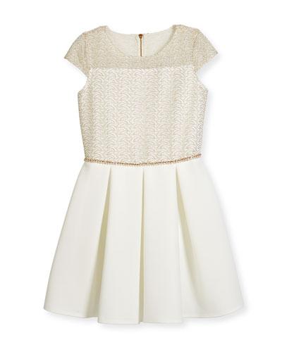 Cap-Sleeve Lace & Ponte Combo Dress, Ivory/Gold, Size 6-14