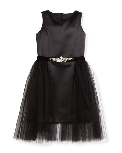Sleeveless Satin Tulle-Overlay Dress, Black, Size 8-16