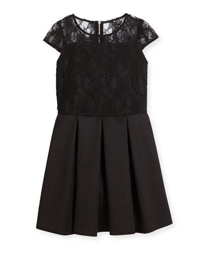 Cap-Sleeve Lace & Ponte Dress, Black, Size 8-16