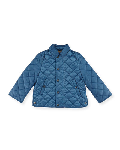 Luke Quilted Snap-Front Jacket, Bright Steel Blue, Size 6M-3Y