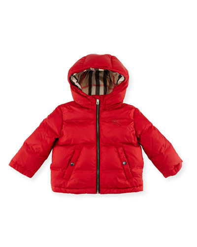 Rio Hooded Puffer Jacket, Military Red, Size 6M-3Y