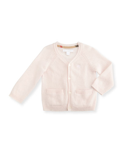 Ellon Button-Front Cashmere Cardigan, Powder Pink, Size 3-24 Months
