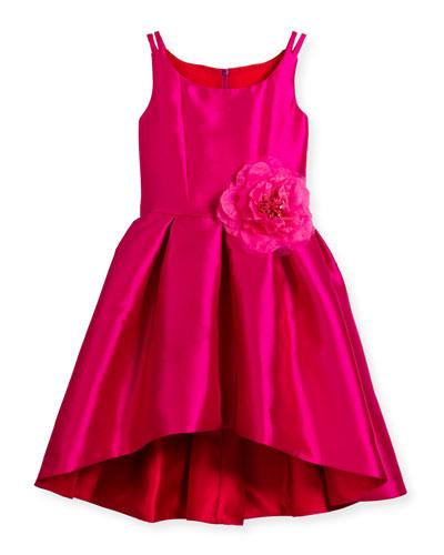 Sleeveless Pleated High-Low Taffeta Dress, Pink/Red, Size 7-16