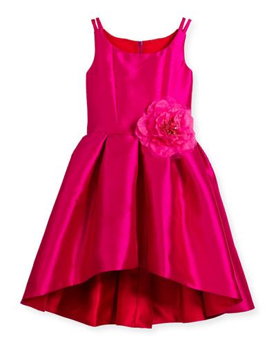 Sleeveless Pleated High-Low Taffeta Dress, Pink/Red, Size 2-6