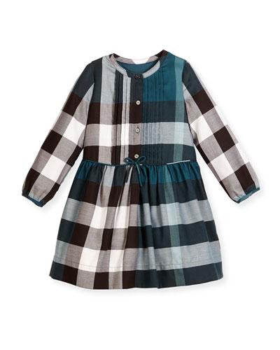 Cassie Long-Sleeve Poplin Check Dress, Teal Blue, Size 4-14
