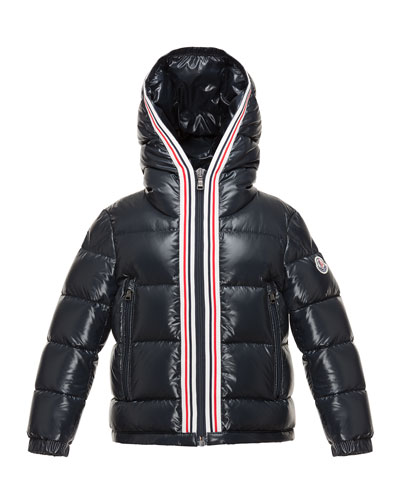 Maubic Hooded Striped-Trim Puffer Jacket, Navy, Size 8-14