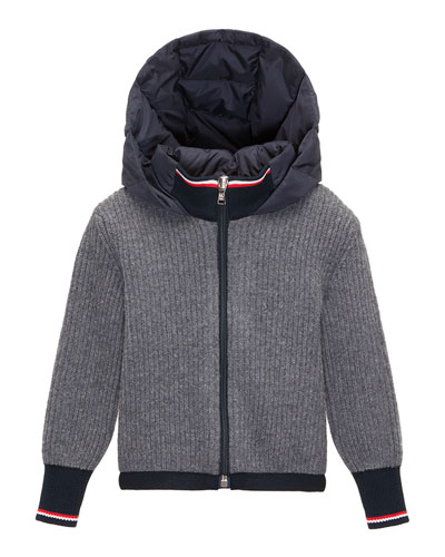 Ribbed Cardigan w/ Down Hood, Navy/Gray, Size 8-14