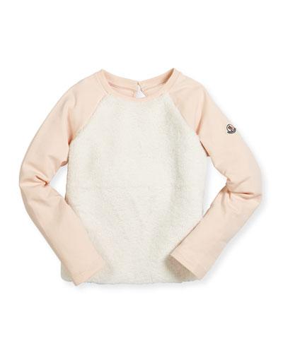 Girocollo Raglan Fleece-Front Sweatshirt, Pastel Pink, Size 4-6