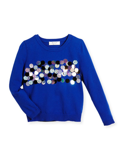 Sequin Jersey Pullover Sweater, Cobalt, Size 8-14