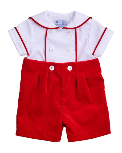 Double-Breasted Sailor Shortall Set, Red/White, Size 3-18 Months