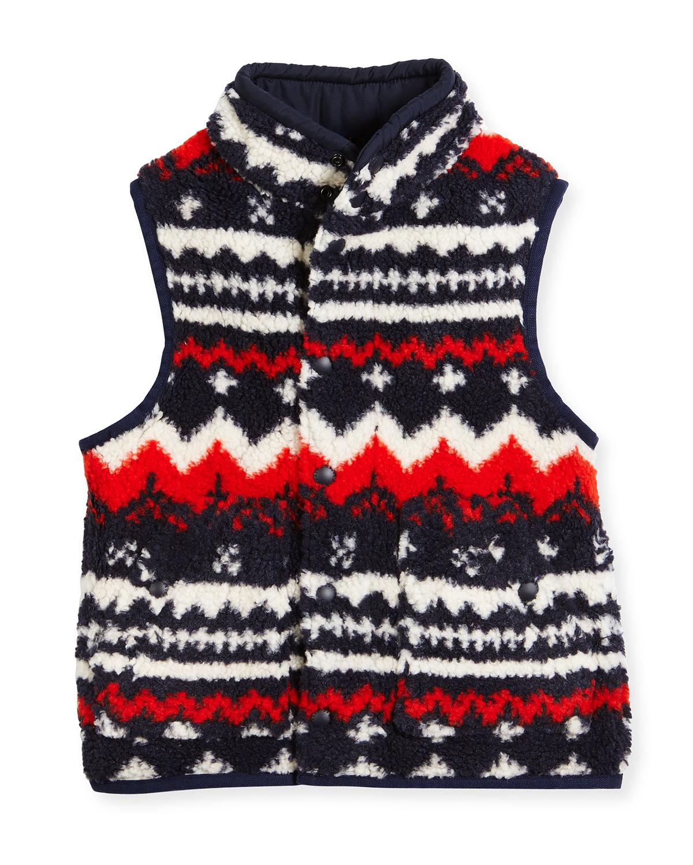 Printed Fleece Vest, Orange/Blue, Size 5-7