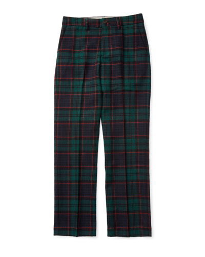 Plaid Wool Newport Pants, Black, Size 2-7