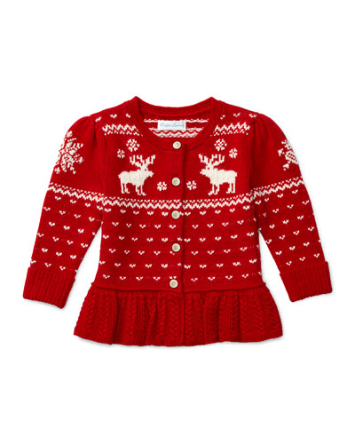 Reindeer Button-Front Peplum Sweater, Red, Size 9-24 Months