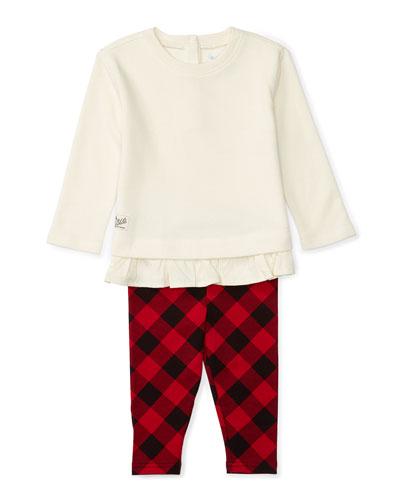 Atlantic Fleece Pullover Sweater w/ Check Leggings, Cream, Size 9-24 Months