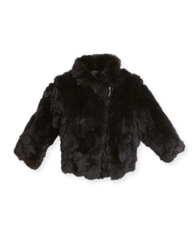 Rabbit Fur Moto Jacket, Black, Size 2-12