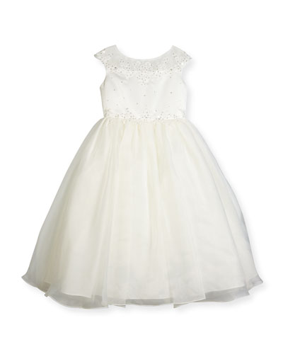 Beaded Satin & Organza Special Occasion Dress, Ivory, Size 2-6