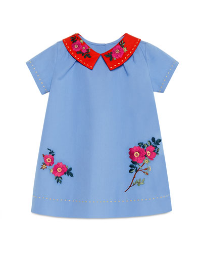 Short-Sleeve Embroidered Poplin Shift Dress, Multicolor, Size 12-36 Months
