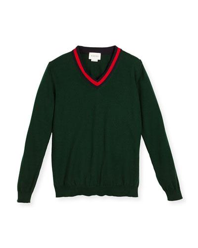 Cotton V-Neck Pullover Sweater, Green/Multicolor, Size 4-12