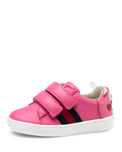 Leather Grip-Strap Rabbit Sneaker, Pink, Toddler